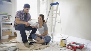 Couple starting painting project